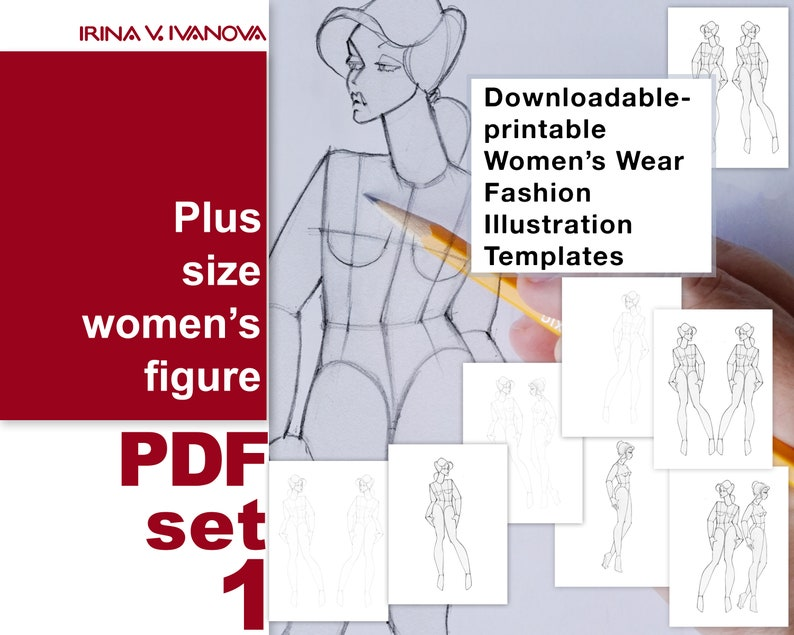 Downloadable printable female figure template for fashion image 0