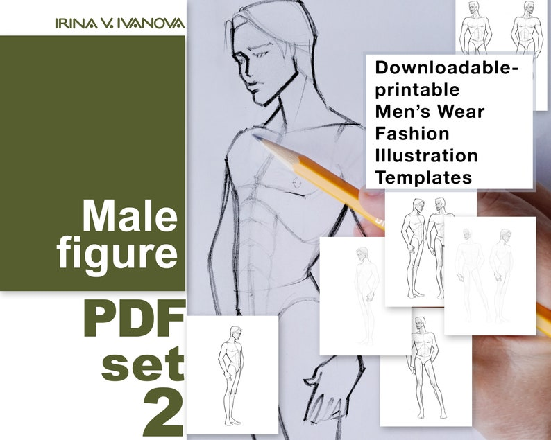 Downloadable printable male figure template for fashion image 0
