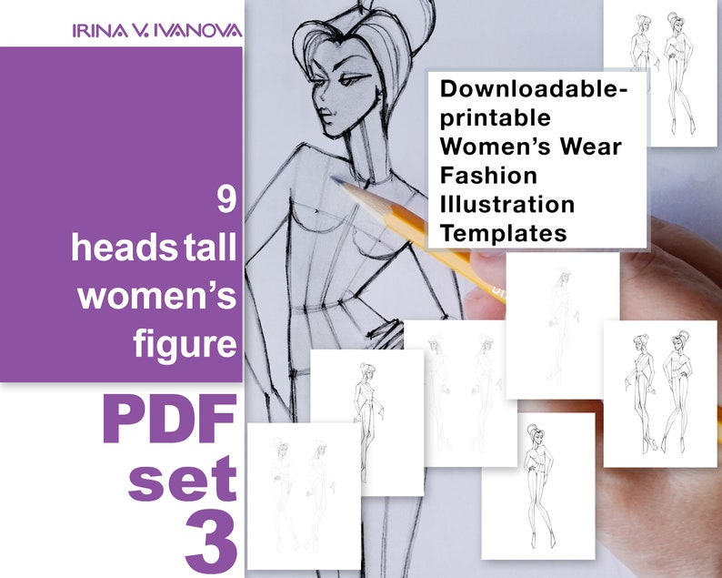 Downloadable printable figure template for fashion design image 0