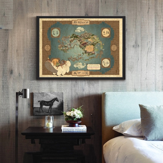 Avatar the Last Airbender - World Map Movie Wall Art Paint Wall Decor  Canvas Prints Canvas Art Poster Oil Paintings No Frame