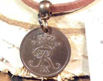 1970 coin necklace. Danish vintage coin. 51 year old 2 ore. Crown R initial charm. Nice 51st birthday gift. Choose chord/chain.