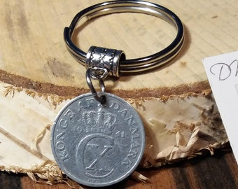 1941 coin keychain. Danish vintage coin. 80 year old 2 ore. Crown C initial charm. WWII coin pendant. Nice 80th birthday gift.