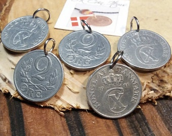 1941 coin pendants. Set of 5 danish vintage coins. 80 year old 2 ore. Crown C initial charms. WWII coins.