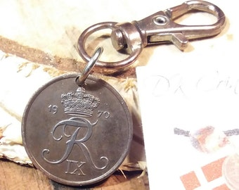 1970 coin charm. Danish vintage coin. 51 year old 2 ore. Crown R initial coin pendant. Nice 51st birthday gift.