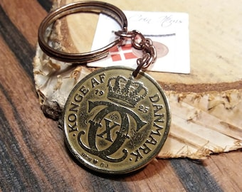 1925 coin keychain. Danish antique coin pendant. 96 year old 2 krone. Initial C coin. Unique 96th birthday gift.