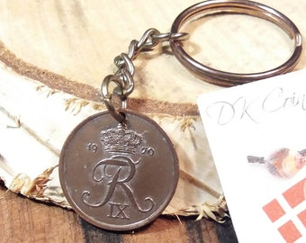 1970 coin keychain. Danish vintage coin. 51 year old 2 ore. Crown R initial charm. Nice 51st birthday gift.