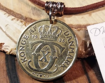 1925 coin necklace. Antique danish coin pendant. 96 year old 2 krone. Crown C initial charm. Unique 96th birthday gift. Choose chord/chain.