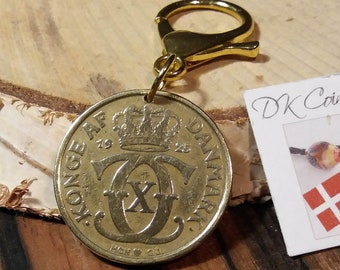 1925 coin charm. Antique danish coin pendant. 96 year old 2 krone. Crown C initial. Unique 96th birthday gift.
