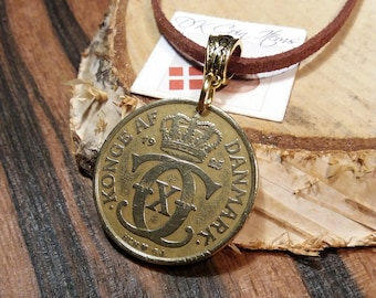 1925 coin necklace. Danish antique coin pendant. 96 year old 2 krone. Initial C coin. Unique 96th birthday gift. Choose chord/chain.