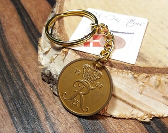1967 coin keychain. Danish coin pendant. 54 year old 5 ore. Initial R coin. Unique 54th birthday gift or 5th anniversary gift.