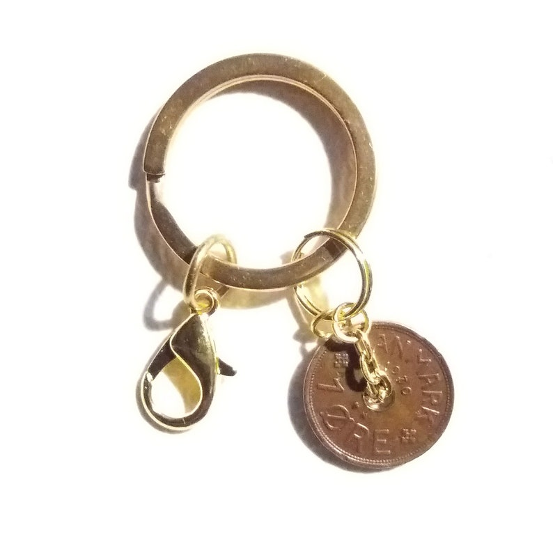 Genuine antique copper coin 91 year 1 ore from Denmark Authentic crown coin charm 1930 coin pendant keychain C initial 91st birthday.