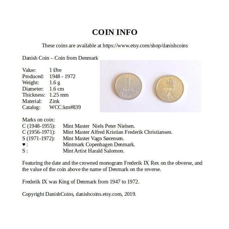 1969 coin pendant earrings  50 year old vintage 1 øre coins from Denmark on  silver plated french ear wire  EA13