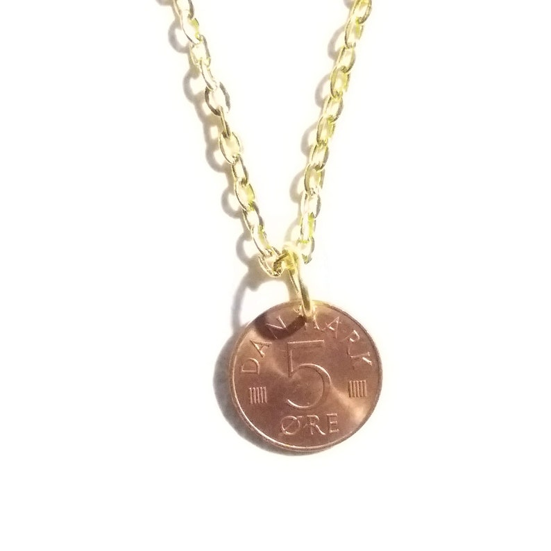48th gift. 48 year 5 ore from Denmark M initial Cord by choice Genuine vintage coin 1973 coin pendant necklace Authentic crown coin