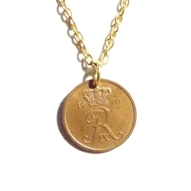 Authentic crown coin R initial 51 year 5 ore from Denmark Genuine vintage bronze coin 51st. Cord by choice 1970 coin pendant necklace