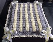 Beautiful grey and lemon Baby Pom Pom Blanket