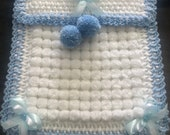 Beautiful White and Blue Baby Pom Pom Blanket