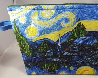 652dacf8b Large Raggity Pouch: Van Gogh Starry Night clutch, purse, cosmetic makeup  bag, zipper travel pouch, project bag