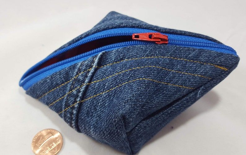 tiny pouch coin purse notions bag gamer gaming dice pod Raggity Pod The Lumberjack: recycled denim flannel sweetpea pod