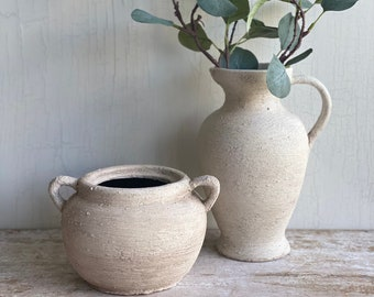 8'' wide l Hand painted Jarre l Minimalist l Textured Jarre l Pottery l Rustic stone inspired l Up-cycled vessel l White Weathered vase