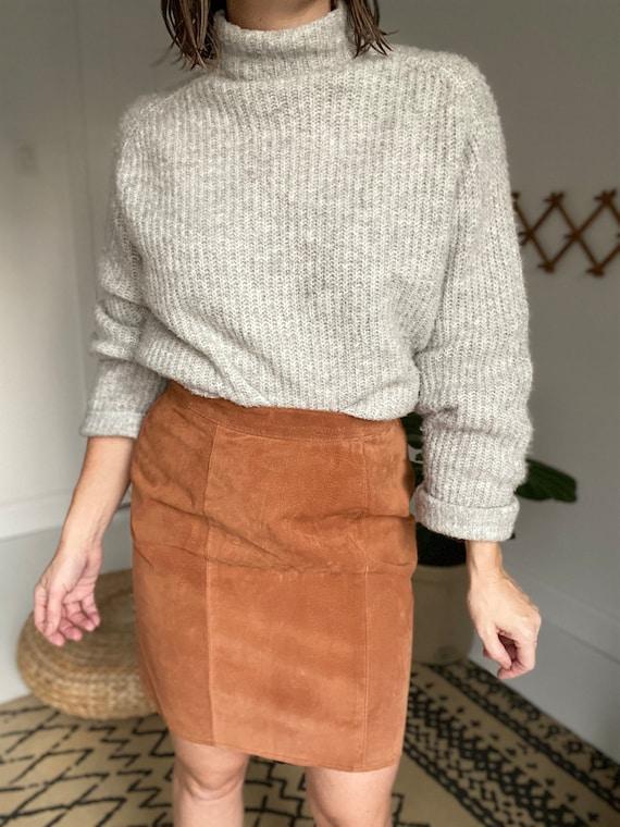 VINTAGE - 1990'S Suede skirt - 100% genuine leathe
