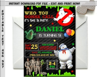 Ghostbusters Invitation Etsy