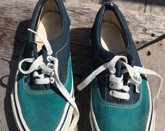 d8749dc96b Vintage Vans ERA shoes Green Blue Made in USA Color Block Old Skool Mens 7.5