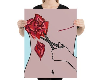 Poster, Mastectomy scars, pruning roses, empowering wall art for breast cancer survivor, thriver or previvor, get well soon gift