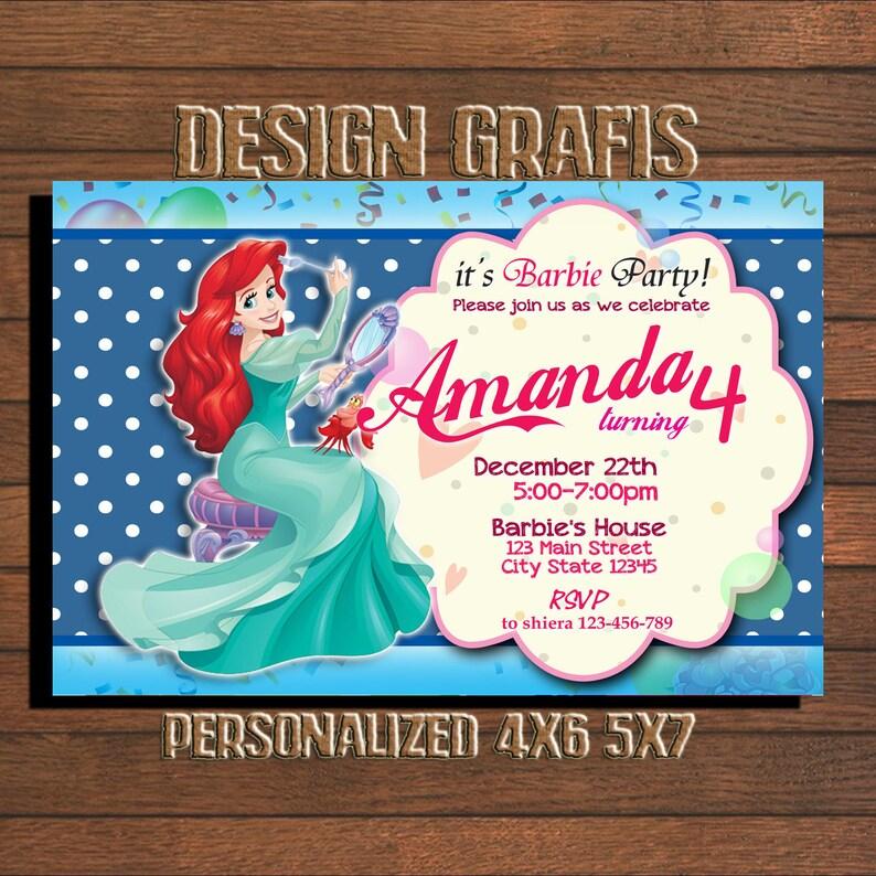 Mermaid Birthday Invitation Party Under The Sea Glitter