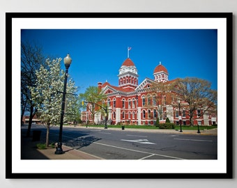 Old Lake County Courthouse in Spring Day - Downtown Crown Point, Indiana - Framed Photo, Ready-to-Hang