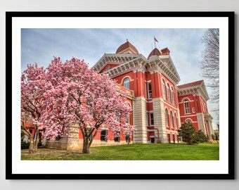 Old Lake County Courthouse in Spring - Downtown Crown Point, Indiana - Framed Photo, Ready-to-Hang