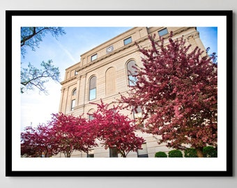 Downtown Valparaiso, Indiana Courthouse in Spring - Framed Photo, Ready-to-Hang