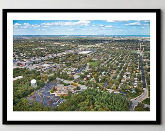 Aerial over Munster, Indiana looking toward Chicago - Framed Photo, Ready-to-Hang