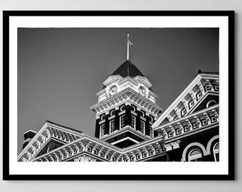 Old Lake County Courthouse in Black and White - Downtown Crown Point, Indiana - Framed Photo, Ready-to-Hang