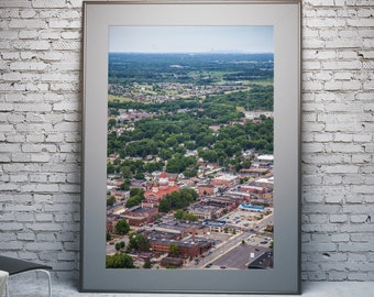 Aerial of Crown Point, Indiana with Chicago Skyline - Framed Photo, Ready-to-Hang
