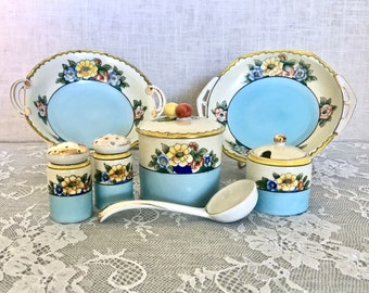 Vintage 1930's Hand-painted Noritake Condiment Set with Jam/Jelly Jar, Mustard Jar, Salt and Pepper Shakers, Spoon, and Bowls
