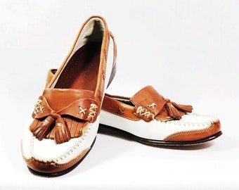 111028181b7 Size 8  White and Brown Cole Haan Loafers