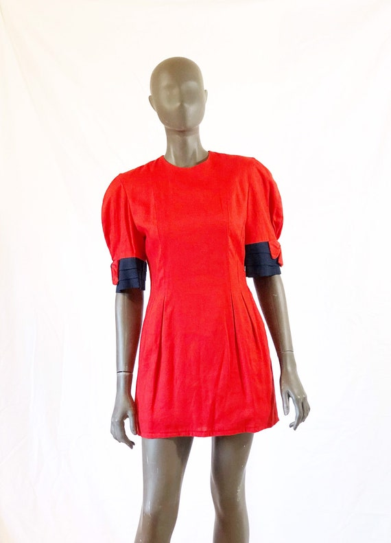 Red Suit Dress/ Mini Dress with Pockets/ Navy Bows