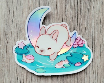 """Bunny Moon Pond Holographic Stickers 2.75"""" 