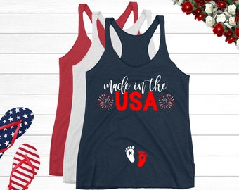 c1391196 4th of July Pregnancy Announcement Shirt   Made in the USA Tank Top    Patriotic Mom to Be Independence Day Baby Reveal Pregnant Maternity