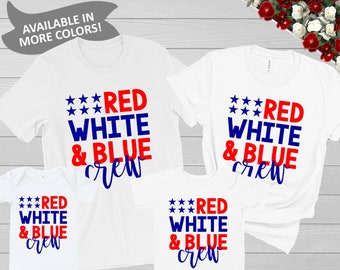 c25b0a055 July 4th Matching Family Shirts Red White & Blue Crew Shirt | Baby Toddler  Kid Cousins Siblings America July Fourth Patriotic Group Tshirts