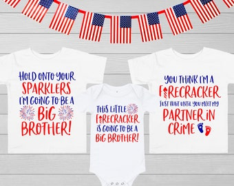 606afede7 Big Brother 4th of July Pregnancy Announcement Shirt | Patriotic Sibling  Baby 2 Reveal Toddler Kid Youth Boy Fourth of July Independence Day