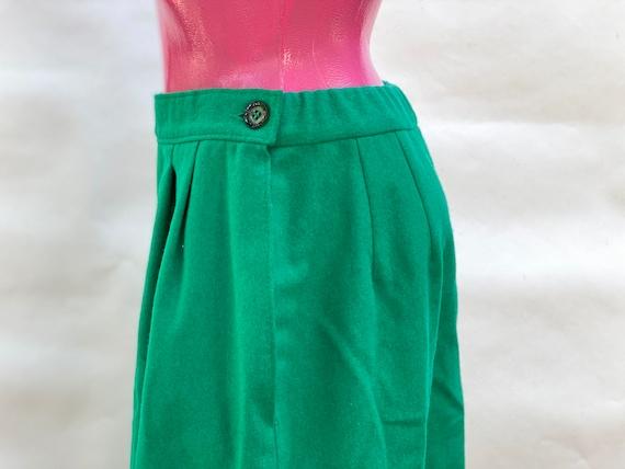 Skirt: pure wool green midi vintage Skirt, made i… - image 4