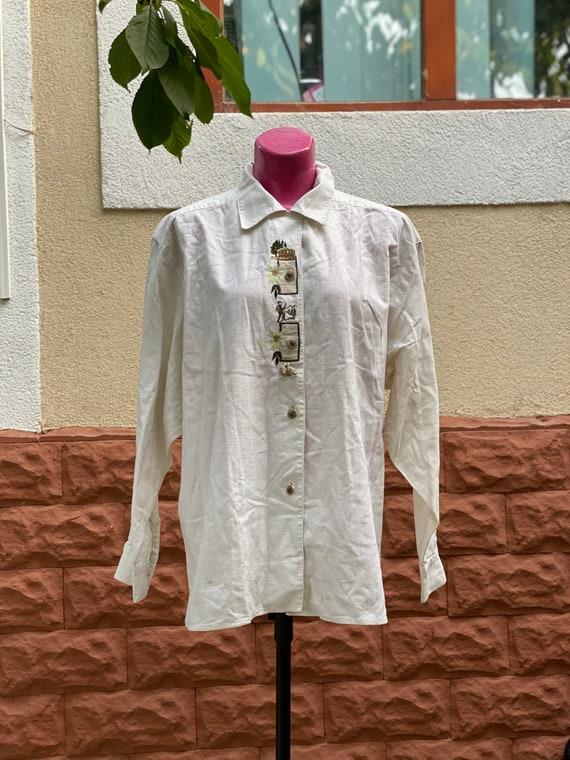 Shirt: vintage linen beige embroidered shirt large