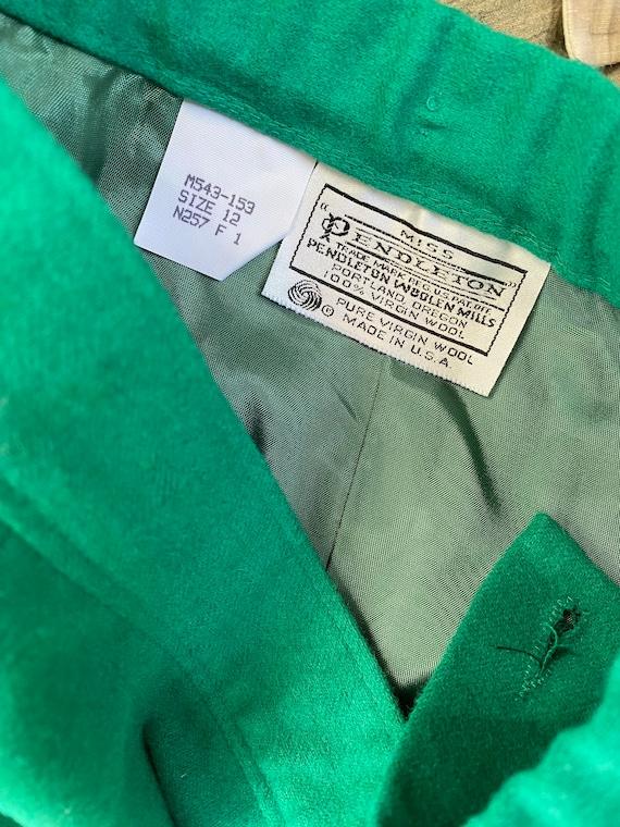 Skirt: pure wool green midi vintage Skirt, made i… - image 2