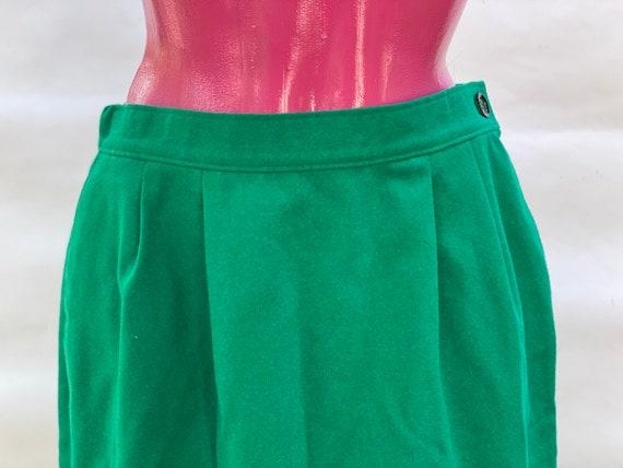 Skirt: pure wool green midi vintage Skirt, made i… - image 3