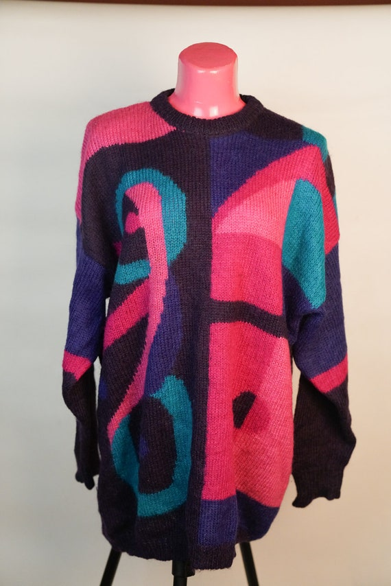 Pullover: Colorful Wool Long Oversize Pullover