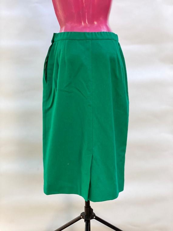 Skirt: pure wool green midi vintage Skirt, made i… - image 6