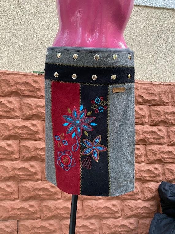 Skirt: wool short mini black Skirt, one size, made