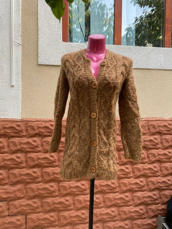 Pullover: brown beige 100% wool Large Pullover