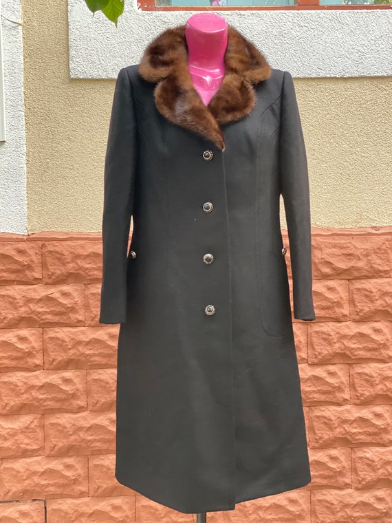 Coat: Pure Wool Weste Germany Coat, Natural Fur, W